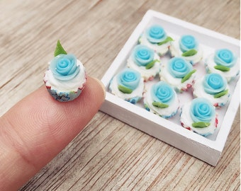 10 pcs.Miniature Blue Rose Cupcake,Miniature Rose cake,Miniature cupcakes,miniature sweet,miniature bakery,Dolls house,Dollhouse food