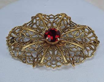 Victorian Red Filigree Oval Large Victorian Red Rhinestone Brooch, Dress Coat Pin, Large Wedding Brooch, Victorian Red Pin Under 20