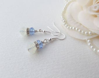 Crystal Earrings, Silver Earrings, Moonstone Crystal and Sapphire Blue Earrings, Something Blue, Light Blue Crystal, Handmade Earrings.