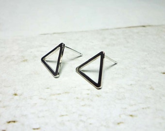 Silver Open Triangle Stud Earrings, Dainty Earrings