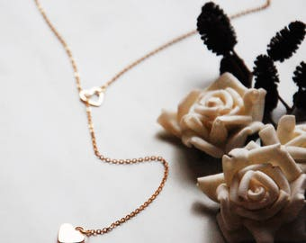 Gold Plated Heart Lariat Necklace, Gold and Silver, Y Necklace, Body Jewelry, Dainty Love Necklace