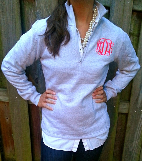 Quarter Zip Monogramed Pull Over