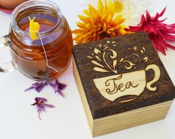 Wooden tea box, tea box, tea bag holder, tea chest, keepsake tea box, personalised tea box, tea storage, tea bag box, tea gift set, wood box