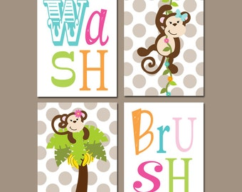 GIRL MONKEY Bathroom Wall Art, Monkey Bathroom Decor, Shared SISTER Bathroom  Decor, Wash