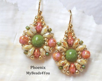 Superduo Beadwoven Earrings, Beadwork Earrings, Beaded Earring, Beading Tutorial, Earring Pattern, Seed Bead Earrings, MyBeads4You
