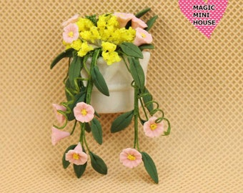 Dolls House Miniature Flower in Pot 7cm Height
