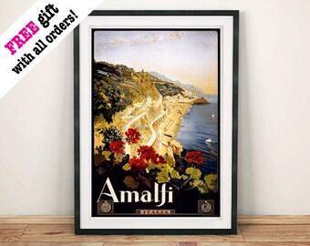 AMALFI POSTER: Vintage Italian Coast Advert Art Print