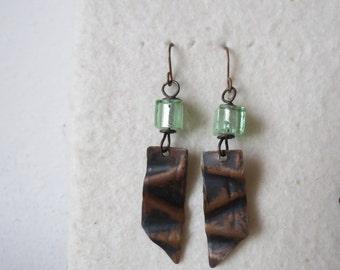Draping ... copper handmade earrings