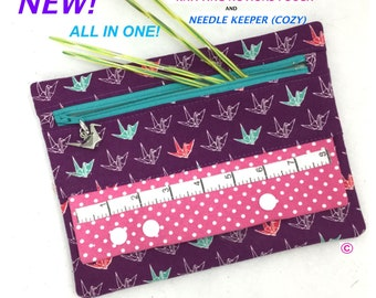Knitting Notions Pouch/Needle Keeper (Cozy), Knitting Notions Zippered Pouch, Needle Keeper,  Knitting Needle Cozy
