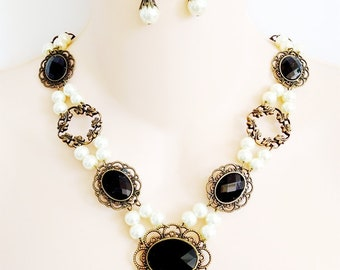 Renaissance Necklace, Earrings, Renaissance Jewelry, Medieval Necklace, Medieval Jewelry, Tudor, Game of Thrones, Reign,  Black, Rdy to Ship