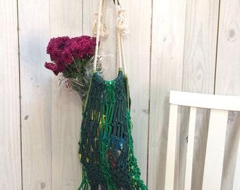 Green Stylish Eco-Friendly Macrame Bag with Fringe, Reusable Macrame Shopping Bag, Earth-Friendly Bag, Macrame Beach Bag, Macrame Swim Bag
