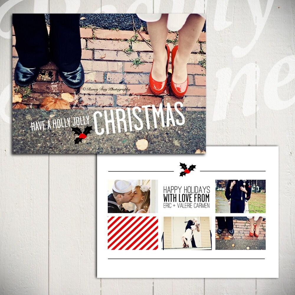 Holiday Card Template Holly Jolly Christmas A 5x7 Christmas