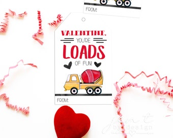 Printable Valentine Tags for Kids - Boy Valentines - Truck Valentines - Construction Valentines