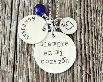 Siempre en mi Corazon Necklace, Forever in My Heart Necklace, Spanish Necklace, Missionary Jewelry, Spanish Sayings,