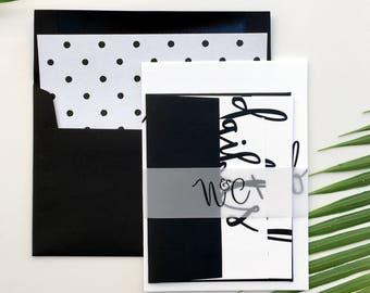 Wedding Invitation | Wedding Invitation Suite | Calligraphy Invitation | Black and White Invitation | Printed Wedding Suite | Nina