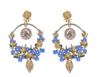 Blue Baroque Earrings, Blue Swarovski crystal baroque earrings jewellery Wedding bridal bridesmaids earrings Floral earrings Something Blue