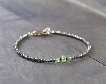 Skinny Beaded Pyrite & Peridot Bracelet, Faceted Peridot Jewelry in Sterling Silver or Gold Filled, Delicate Layering Gemstone Bracelet