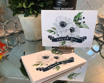 Beautiful White and Navy Floral Thank You Cards, Set of 10