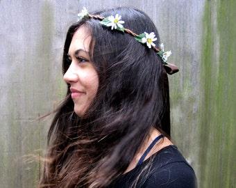 Daisy Flower Crown, White Daisy Headband, Daisy Chain, Flower Hair Wreath, EDC, Bohemian, Hippie Headband, Festival Clothing, Flower Child.