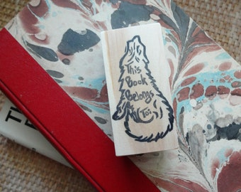 This Book Belongs To...Wolf Hand Carved Rubber Stamp: Book Stamp, Book Plate, Name Stamp, Teacher Gift, Howl, Wildlife, Nature, Woodland