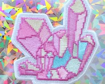 aura cystal pixel iron-on patch + sticker by bitmapdreams