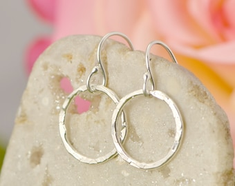 Sterling Silver Circle Dangle Earrings, Silver Earrings, Hammered Jewelry, Buy 2 Get 1 Free, Small Dangle Earrings, Gift For Her