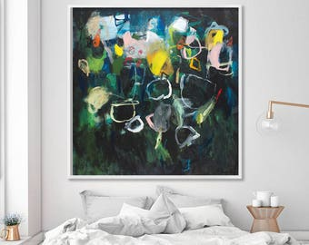 """Colorful modern print Large Abstract Print, Large Wall Art dark green art print giclee """"Sparkles 11"""" by Duealberi"""