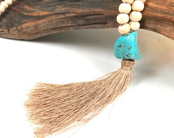 Boho Turquoise Pendant Necklace with Wooden Beads
