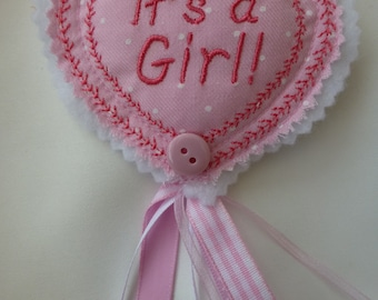 It's a Girl!   It's a Boy!  Birth or Pregnancy Announcement gifts.  Heart shaped decorative pin brooches with hanging ribbon.