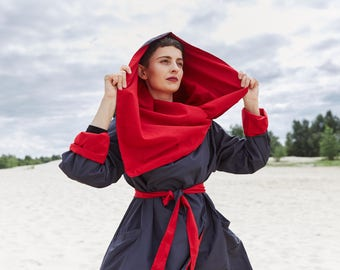 Trapezium Cape, simple coat, unique raincoat, three colors available