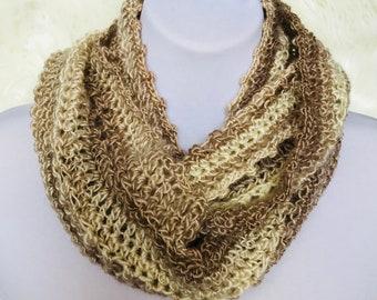 Beige Natural Infinity Scarf, cowl, loop scarf, circle scarf, eternity scarf, crochet infinity scarf, knit cowl