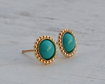 turquoise earrings stud,turquoise earrings,gold earrings,stud earrings,bohemian jewelry,turquoise jewelry- 21197