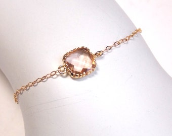 Peach Bracelet, Glass Bracelet, Champagne, Gold Filled Bracelet, Wedding Jewelry, Bridal Jewelry, Bridesmaids Bracelet, Bridesmaid Gifts