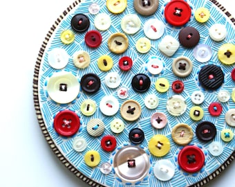 BLUE MILLIONAIRE PIE, Embroidery Hoop Art, Textile And Vintage Button Art, Pink, Cream, Yellow, Brown, Red, Blue Upcycled Art Piece