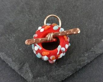 Koi - dark orange fritty toggle clasp   Handmade lampwork glass.