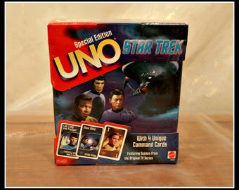 Special Edition Star Trek UNO Game With 4 Unique Command Cards, NIB, Mattel Toys and Games, Beam Me Up Scotty, Spock, Captain Kirk, McCoy