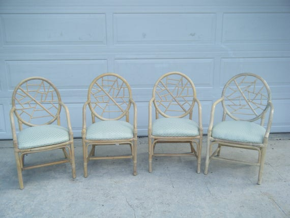 Set Of 4 Vintage MCM McGuire Style Cracked Ice Arm Chairs