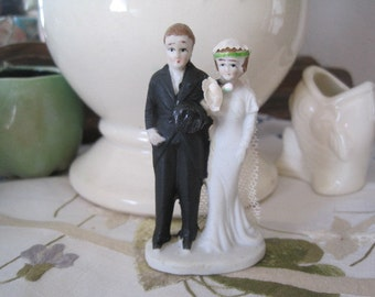 """Vintage 1930's 2 3/4"""" Inch  Bisque Bride and Groom Wedding Topper...New Old Stock...Cupcake Wedding Cake Topper"""