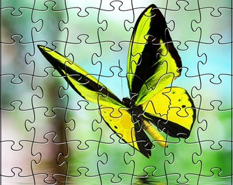 Yellow Butterfly Zen Puzzle - Hand crafted, eco-friendly, American made artisanal wooden jigsaw puzle
