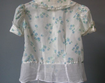 Girls Sheer Blouse / Vtg 60s / Floral Print Buttons in Back Girls Sheer Blouse / Blue Floral Blouse