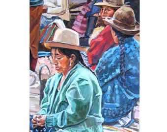Peruvian Women Peru Painting Art Print Textile Weaving Native Indian South American Art Andean Market, South America Painting  Gwen Meyerson