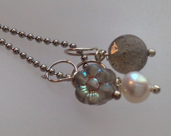 Labradorite, Pearl, Carved Grey Glass Charm, dangles  Necklace