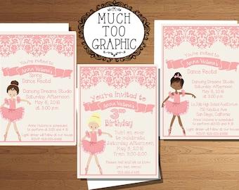 Ballet Dance Recital Invitation Ballerina Birthday Party Invitations  Pink Printable Printables Blonde African American