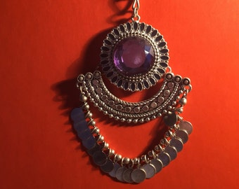 Purple and silver festive necklace