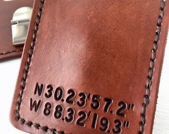 Custom Coordinates Money Clip Wallet. Mens leather wallet. Credit Card case. Personalized 3rd anniversary gift for him