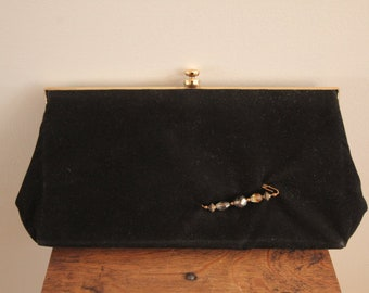 1950's Black Clutch Bag with Brass Clasp