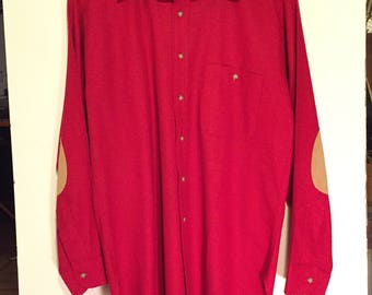 PENDLETON Vintage 100% Wool Shirt w/ Suede Elbow Patches sz Large