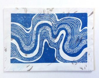 linocut - RIVERBEND // 5x7 art print // printmaking // block print // blue // river, stream // nature art // small // original // wall art