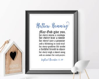 May God give you for every storm a rainbow, Baptism Printable, Baptism Print Personalized Baptism Gift, Boy Baptism Gift. Christen Boy gift