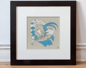 Drawing, original 15/15 cm (5.9/5.9 inch)